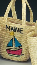 Child's Straw Bag with Design & City