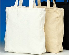 Zipper Top Canvas Tote