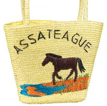 Embroidered  Straw  Shopper