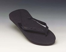 Large Ladies' Black Flip Flops - Smooth Insole