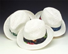 Pinched Front White/Black Hat